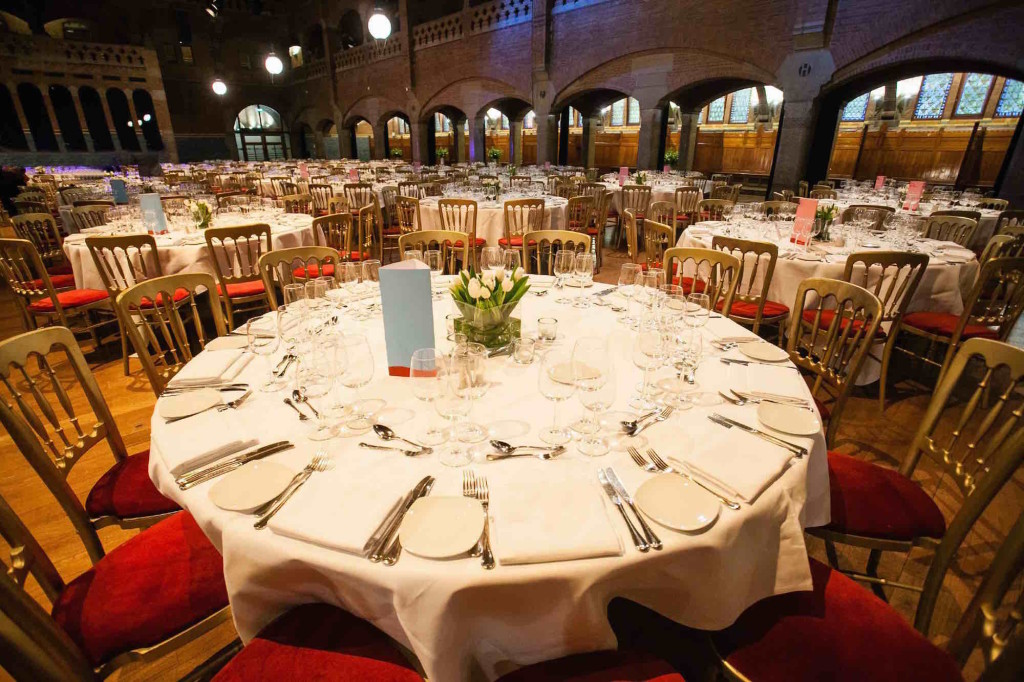 catering table set in Amsterdam Beurs Van Berlage