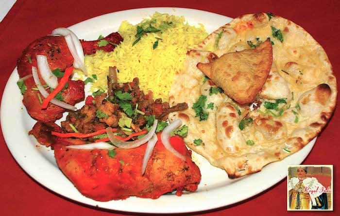 Royal India Special with tandoori chicken, samosa, mixed vegetables, naan bread and basmati rice