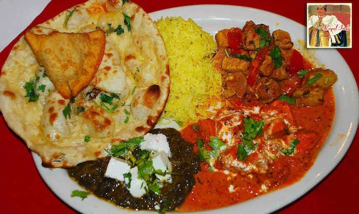A platter displaying lunch special at Raleigh's Indian restaurant - Royal India